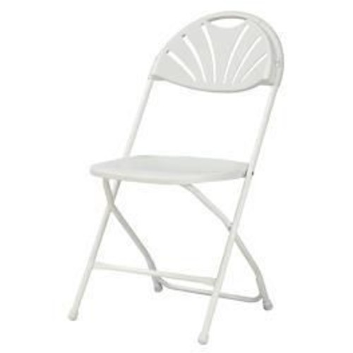 Cosco Classic Collection Fan Back Resin Folding Chair White (60542WHT8E)