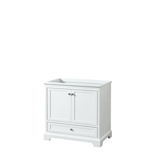 Wyndham Collection Deborah 35.25 in. W x 21.5 in. D Vanity Cabinet in White