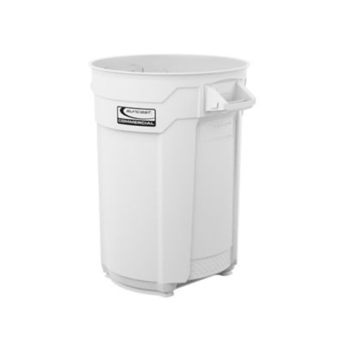 Suncast Commercial Utility Trash Can 44 Gallon, White (BMTCU44W)