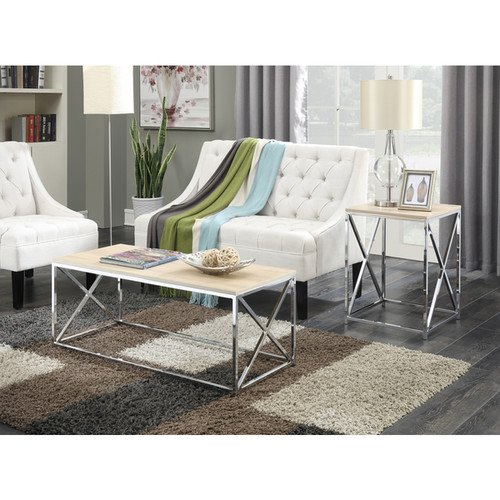 Convenience Concepts Belaire Chrome Weathered Coffee Table