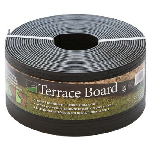 Master Mark Terrace Board 5 in. x 40 ft. Black Landscape Lawn Edging with Stakes