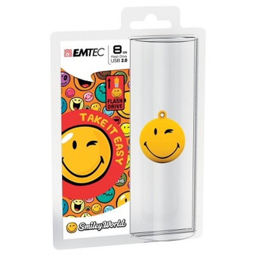 Emtec 8GB USB 2.0 3D Smiley Flash Drive - Yellow (ECMMD8GSW100)