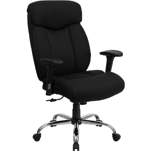 Flash Furniture HERCULES Series Big & Tall 400 lb. Rated Black Fabric Executive Swivel Chair with Adjustable Arms [Black Fabric]