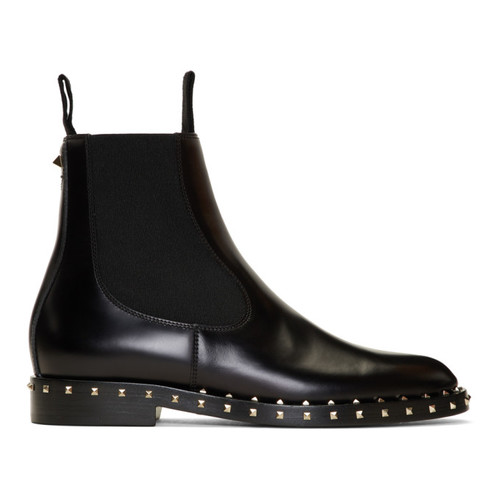 VALENTINO Black  Garavani Rockstud Chelsea Boots