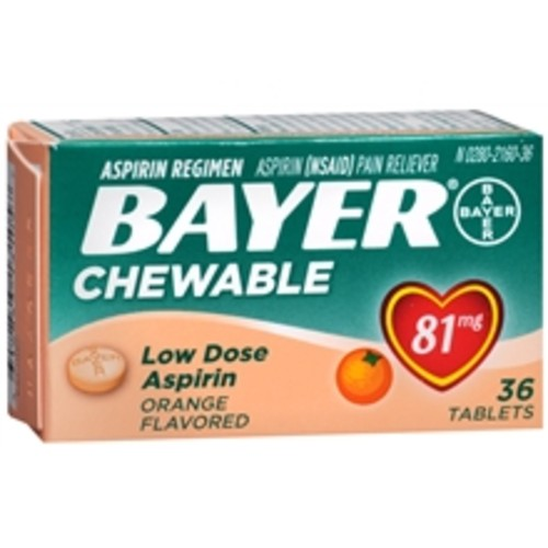 Bayer Low Dose Aspirin Pain Reliever 81 mg, Chewable Tablets Orange