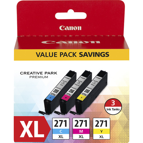 Canon - CLI-271XL 3-Pack High-Yield Ink Cartridges - Cyan/Magenta/Yellow