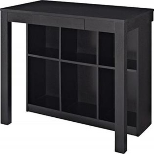 Altra Furniture Altra Corrine Parsons Desk with Cubbies, Black Oak
