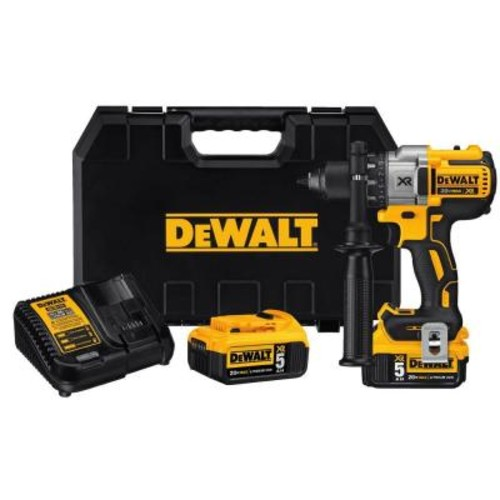 DEWALT 20-Volt MAX XR Lithium-Ion Cordless Drill/Driver with (2) Batteries 5Ah, Charger and Case