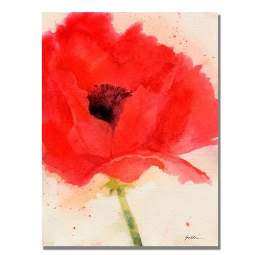 Trademark Global Sheila Golden 'Green Poppy' Canvas Art [Overall Dimensions : 18x24]