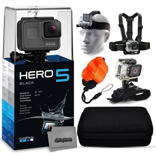 GoPro HERO5 Black + Case, Head Strap, Chest Mount, Wrist Glove & More