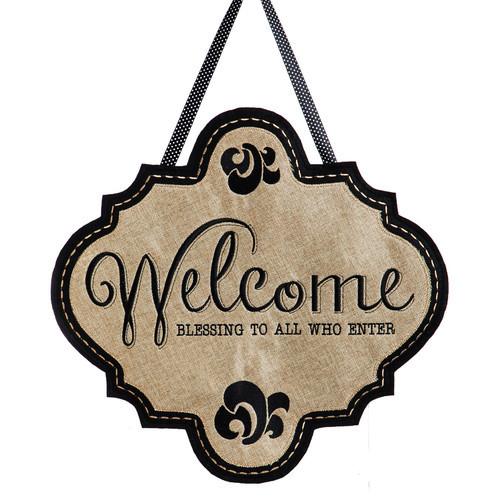 Welcome Burlap Door Decoration