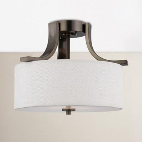 itude Run Lake Park 2-Light Ceiling Lamp in Brushed Nickel; Oiled Bronze