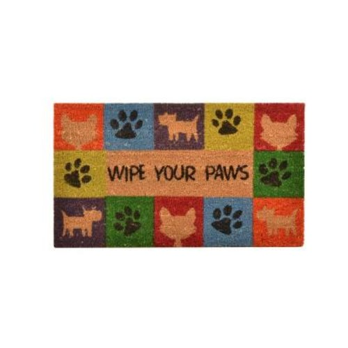 HomeTrax Designs Outdoor Wipe Your Paws 1 ft. 6 in. x 2 ft. 6 in. Coir and Vinyl Door Mat