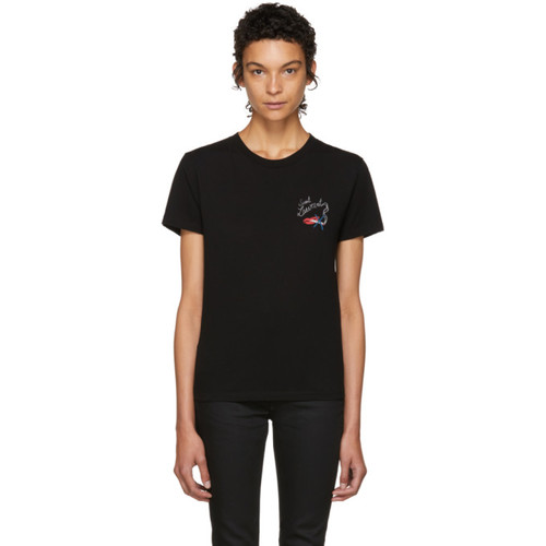 SAINT LAURENT Black Bouche T-Shirt
