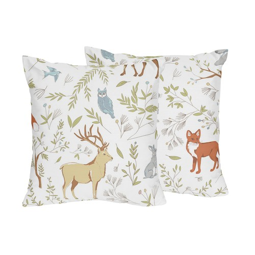 Sweet Jojo Designs Decorative Accent Throw Pillows for the Woodland Toile Collection by