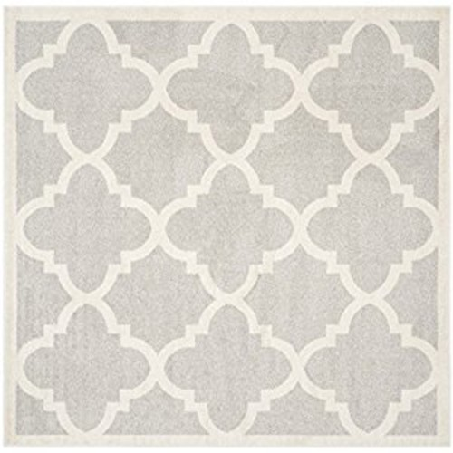 Safavieh Amherst Collection AMT423B Light Grey and Beige Indoor/ Outdoor Square Area Rug