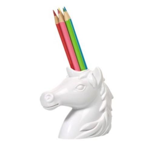 Kikkerland Unicorn Pencil Holder in White