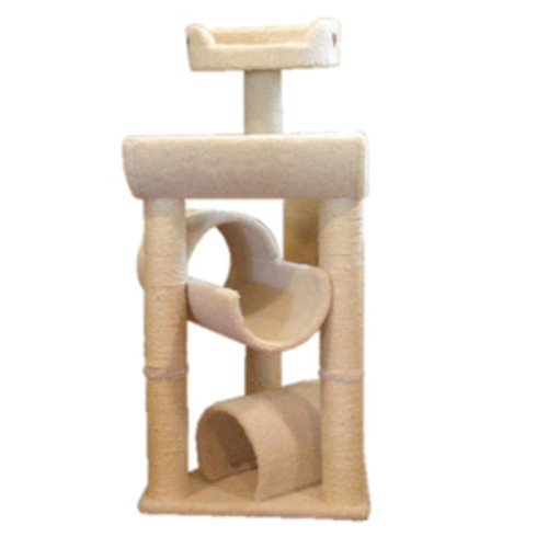 Majestic Pets Bungalow 44-in White Faux Fur Cat Tree