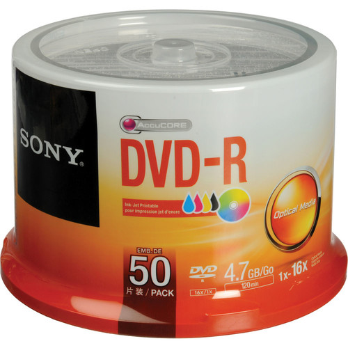 DVD-R 4.7 GB White Inkjet Printable Recordable Discs (Spindle Pack of 50)