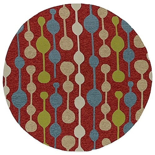 Kaleen Home & Porch Bubbles 5-Foot 9-Inch Round Indoor/Outdoor Rug in Red