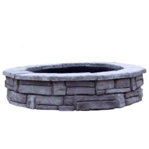 44 in. Random Stone Gray Round Fire Pit Kit
