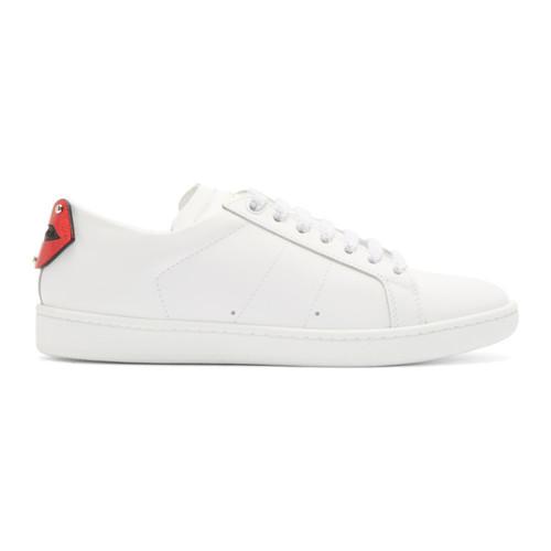 SAINT LAURENT White & Blue Court Classic Sl/01 Lips Sneakers