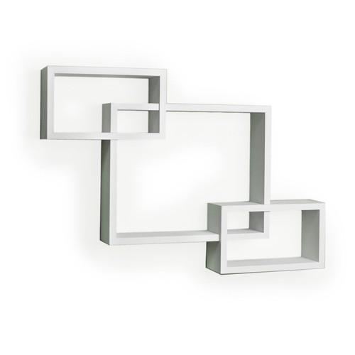 Danya B YU008W Intersecting Laminate Wall Shelf, White