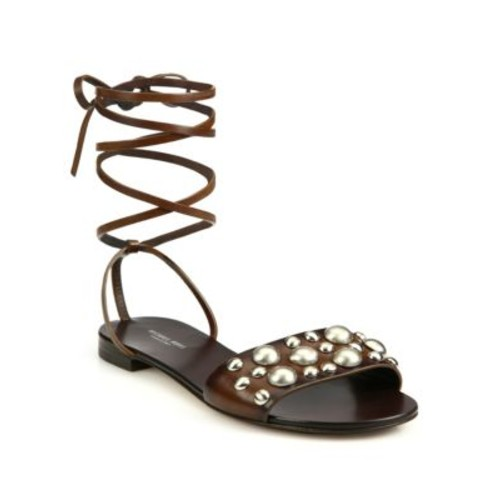 MICHAEL KORS COLLECTION Mica Studded Leather Lace-Up Sandals