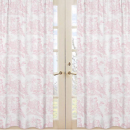 Sweet Jojo Designs French Toile Window Panel Pair in Pink
