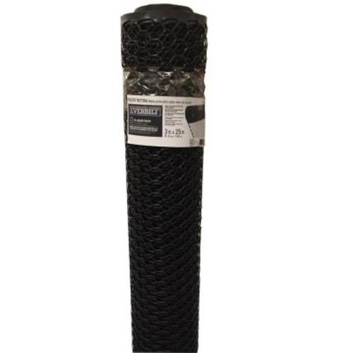 Everbilt 3/4 in. x 3 ft. x 25 ft. Black PVC Poultry Fence