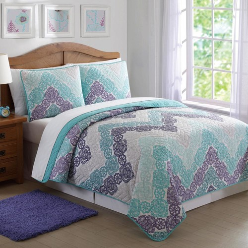 Antique Lace Chevron Purple and Teal Twin Quilt Set