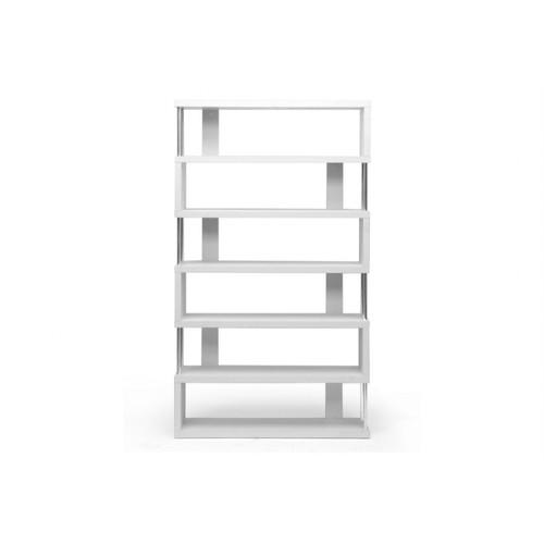 Wholesale Interiors FP-6D-White Barnes White Six-Shelf Modern Bookcase