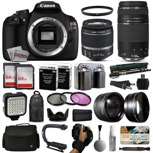 Canon T5 DSLR Camera w/ 18-55mm IS II + 75-300mm USM Lens + Premium 128GB Kit