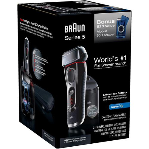 Braun Series 5 5090cc Electric Shaver with Cleaning Center Plus Bonus Mobile Shaver