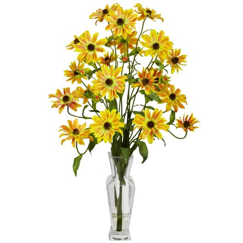 Nearly Natural Cosmos with Vase Silk Flower Arrangement Yellow 1172-YL