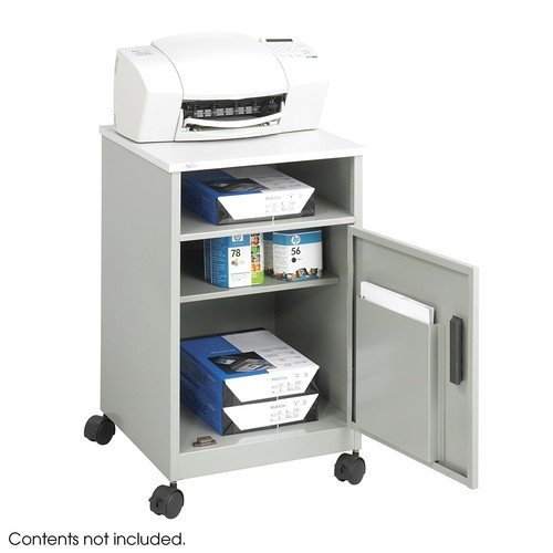 Safco Products 1871GR Compact Machine Stand with Single Door Storage, Gray [Single Door]