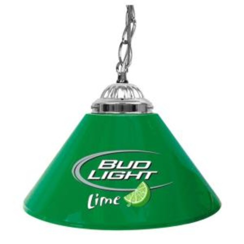 Trademark Global Bud Light Lime 14 in. Single Shade Green and Silver Hanging Lamp