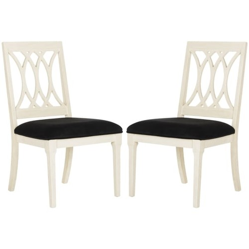 Safavieh Selena Navy / Antique White Velvet Dining Chair (Set of 2)