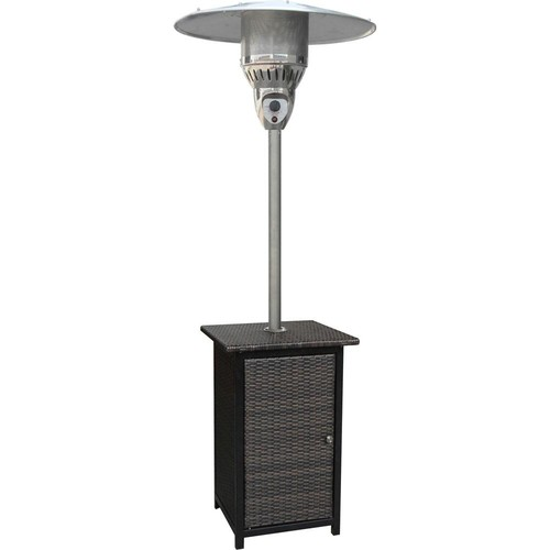Hanover 7 ft. 41,000 BTU Brown Stainless Steel Square Wicker Propane Gas Patio Heater