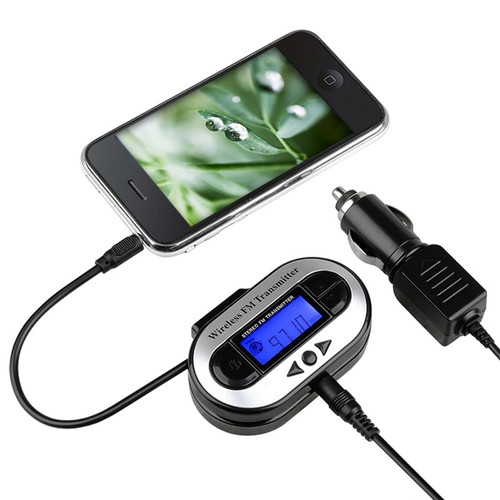 Insten 337645 Universal Wireless FM Transmitter with USB Port for iPhone Samsung HTC & More Smartphones, Black