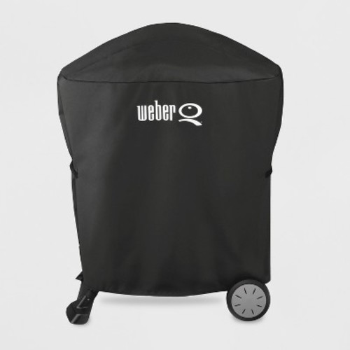 Weber Q with Rolling Cart Grill Cover - Black