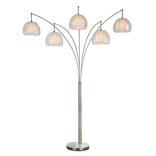 Zucca Brushed Steel 89 in. 5-Arc LED Floor Lamp with Dimmer