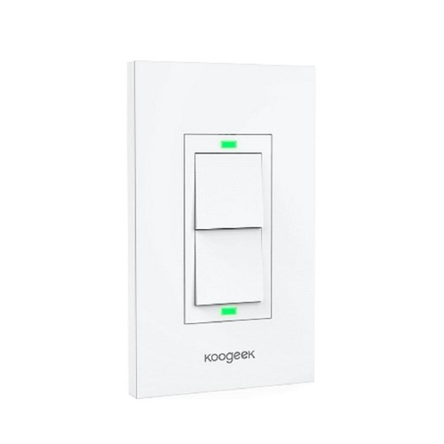 KOOGEEK Smart Wi-Fi Light Switch for Apple HomeKit with Siri Remote on 2.4Ghz Network (2-Way)