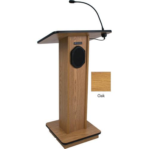 Elegant Wood Elite Lectern with Sound System (Oak)