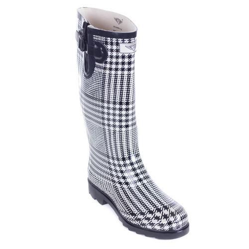Women's Mid-Calf Black White Plaid Rubber Rain Boots