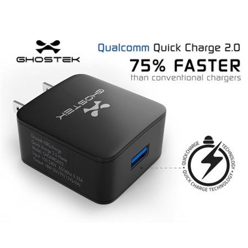 NRGcharge Quickcharge 2.0 Home Charger w/ Micro USB Cable, Black GHONRG003