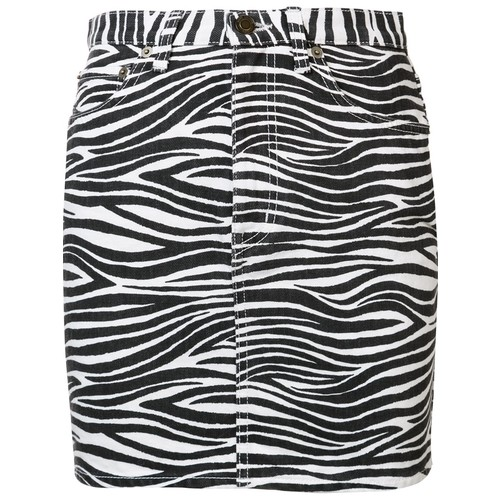 SAINT LAURENT Zebra Print Denim Skirt