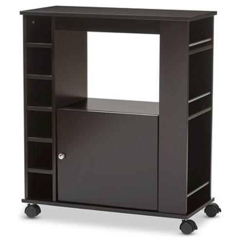 Ontario Modern & Contemporary Dark Brown Wood Modern Dry Bar & Wine Cabinet - Baxton Studio