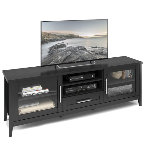 CorLiving Jackson Extra Wide TV Bench in Black Wood Grain Finish, For TVs up to 80