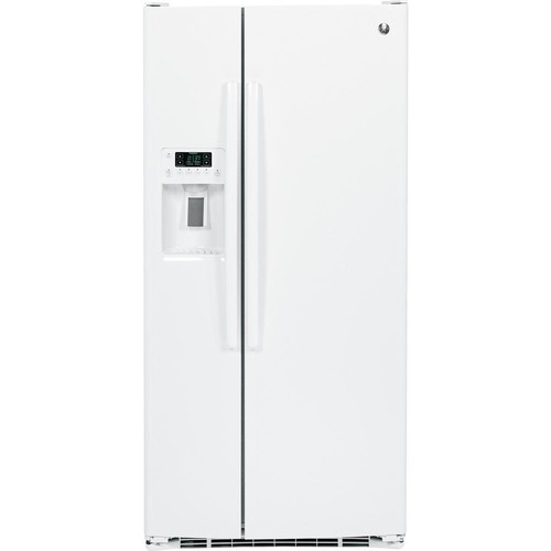 GE 32.75 in. W 23.2 cu. ft. Side by Side Refrigerator in White, ENERGY STAR